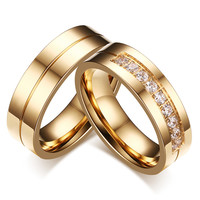 CZ Diamond Couple Ring Gold Plated Ring for Women Man Titanium Lover Ring Stainless Steel Wedding Band Utr8015