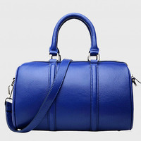 Celebrity Style Handcraft Royal Blue Leather Tote. Leather Boston Bag