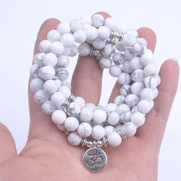 108 Bead Mala Bracelet with Charm, Natural Stone Howlite 8mm Beads