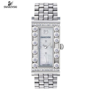 Swarovski LOVELY CRYSTAL SQUARE Swiss WATCH Stainless Steel #5096682