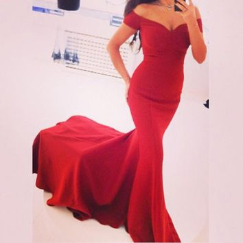 Fashion Off Shoulder Short Sleeve Solid Color Bodycon Fish Tail Maxi Dress Evening Dress