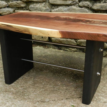 Live Edge Coffee Table, Walnut, Wood Table, Black Bases, Industrial Coffee Table, Modern Coffee Table Metal Stetchers Sustainable Wood