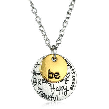 """Engraved Letter Personalized necklace Custom Initial jewelry for women men Two-Tone Gold """"Be"""" Graffiti Charm Necklace"""