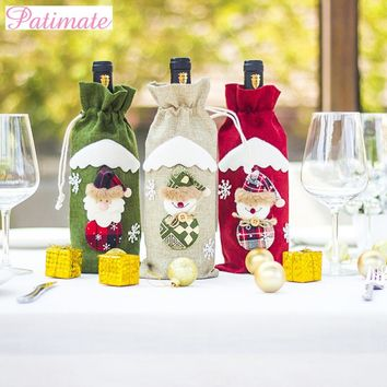 PATIMATE Noel Christmas Decors for Home Christmas Wine Bottle 2019 Happy New Year Christmas Ornaments Christmas Tree Decor