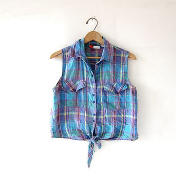 vintage cropped tank top. Plaid belly shirt. Tie front top. Button front sleeveless shirt.