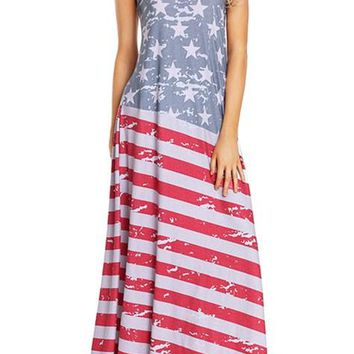 American Flag Print Sleeveless Casual Maxi Dress