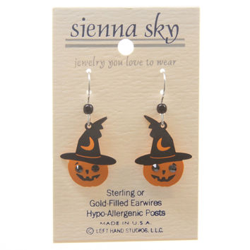Sienna Sky Halloween Pumpkin W/Witch Hat & Rhinestone Eyes Earrings