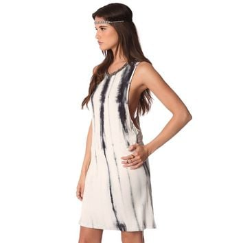 Gray slip dress in tie dye