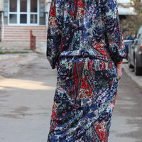 Handmade Long Multicolored Blue Red White Elastic Cotton Tricot Plus size Oversized Spring Summer Maxi Caftan Dress