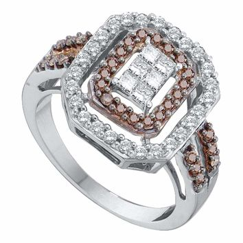 14kt White Gold Womens Round Cognac-brown Color Enhanced Diamond Rectangle Cluster Ring 3/4 Cttw