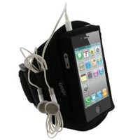igadgitz Black Water Resistant Neoprene Sports Gym Jogging Armband for Apple iPhone 4 HD & 4S 16GB 32GB 64GB