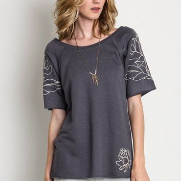 Lotus Floral Embroidered Short Sleeve Top