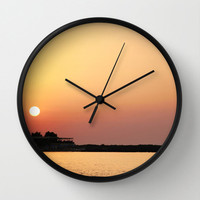 Art Wall Clock Sunset on the Beach Modern Photography home decor yellow orange peach pink purple tones ocean sea water black white