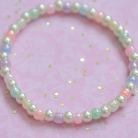 Pearl Pastel Stretch Bracelet: The Jelly Bean.