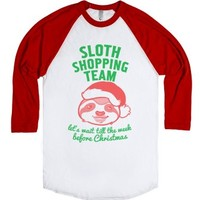 Sloth Shopping Team-Unisex White/Red T-Shirt