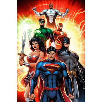 J0816- Justice League - Movie Anime Pop 14x21 24x36 Inches Silk Art Poster Top Fabric Print Home Wall Decor