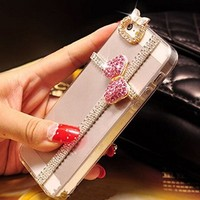 iPhone 6S Case,iPhone 6 Case,Hundromi iphone 6 6s CRISTAL Handmade Clear Bling Rhinestone Diamond Hard Shell Anti-Scratch Transparent Clear Back Case for iPhone 6/6s 4.7 inch Screen(PINK BOW)