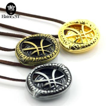 Cool Doctor Strange Necklaces for Men Antique Bronze Eye Shape Pendant with Leather Cord steampunk Long Necklace Movie Jewelry