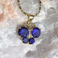Royal Blue Sapphire Butterfly Pendant - Vintage