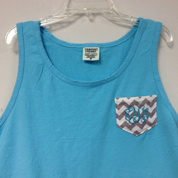 MonogrammedChevron Pocket Comfort Colors Tank Top/ by christylous