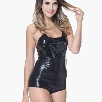 Black Strapless Faux Bodysuit