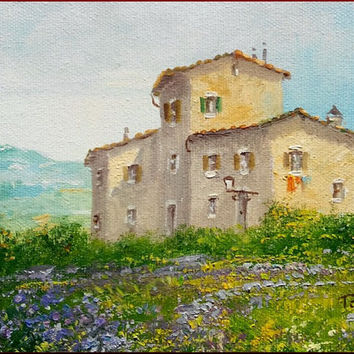 "Little Italian painting ""Tuscany landscape n3"" original of Luciano Torsi - Dipinto pittore Italiano"