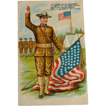 Patriotic Postcard / Soldier Postcard / Soldier Flag Card / Embossed Postcard