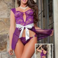 Purple Mesh Cutout Sleeveless Bow Belted Lingerie