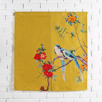 Taiwan Japan style Chinese flower bird door curtain hanging living room kitchen home decoration bar tea coffee house