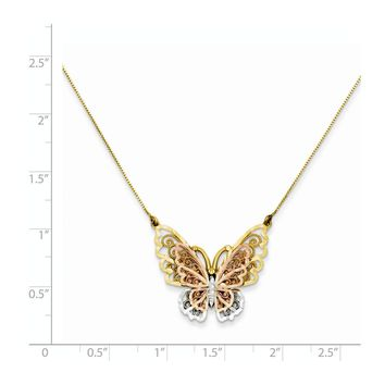 14k Tri-color Gold Butterfly Necklace