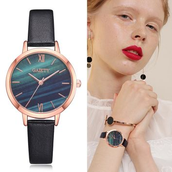 Women's Clock Ladies Fashion Simple Stylish Marble Mirror Dial Watches Women Slim Leather Analog Classic Casual Wrist Watch 2018