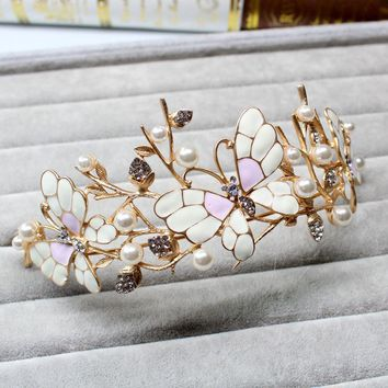 Baroque Queen's crown pearl butterfly hair ornaments jewelry European princess bride wedding headdress