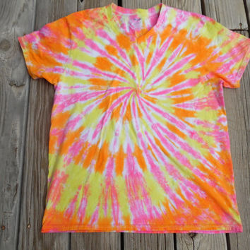 Tie-Dye Shirt Made to Order Hand Dyed in Pink, Yellow, Orange, and white. Choose Adult Size Small – XX Large. V–Neck or Round Neck.