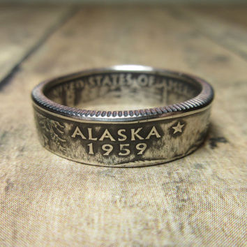 Alaska State Quarter Coin Ring Size 5.5 to 12