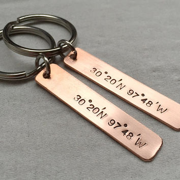 Copper keychains, Personalized couples keychains, Coordinates keychains for couples, his hers Gift for couples, girlfriend boyfriend gift