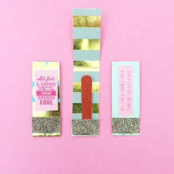 Mini Matchbook Nail Files for Oh Shit Kits and Hangover Kits or Travel Bags Bachelorette Party Favors