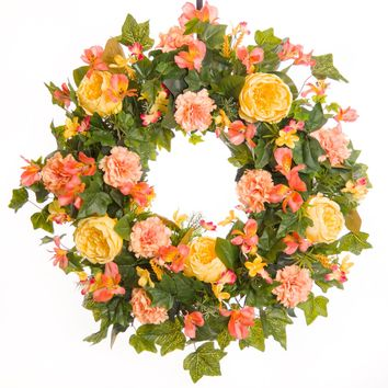 Pink Carnation & Rose Everyday Wreath (SW009)