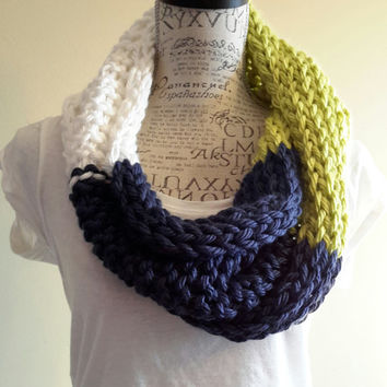 Seattle Seahawks colors. Navy blue, white and green cowl. football. Knit Scarf. Chunky. Made by Bead Gs on ETSY.