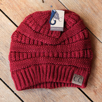 Basic Knit Beanie, Burgundy