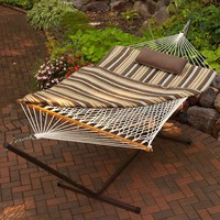 Outdoor Patio Deck 11-Ft Hammock with Metal Stand & Pad Pillow Set