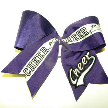 Cheer Hair Bow with cheer applique-Cheer Bow-U can pick the color of the base ribbon