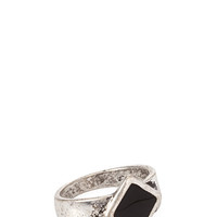 Diamond-Shaped Ring Silver/Black