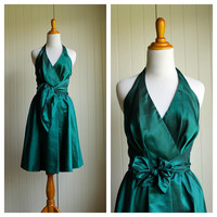 Vintage 70s Emerald Halter Party Dress by Nipon// Cocktail Dress// Prom Wedding Holiday Party Dress// Pin Up Dress// Evening Dress