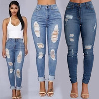 Autumn Winter Woman Hole Sexy Jeans Pant Femme Low Waist Ankle Length Cowboy Ripped Jeans For Women Female
