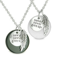 "Angel Wing Inspirational ""Never Never Give Up"" Love Couple Yin Yang Powers Pendant Necklaces"