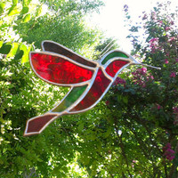 Stained Glass Hummingbird Suncatcher Colorful Glass Art Home Garden Decor Housewarming Gift for Mom Red Green and Plum Bird Sun Catcher