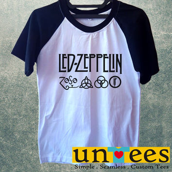 Led Zeppelin Logo Short Raglan Sleeves T-shirt