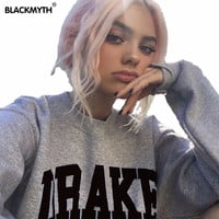 DRAKE New Women's Sweatshirt Casual Hoodies Long Sleeve Pullover Tops Sweatshirts Black White