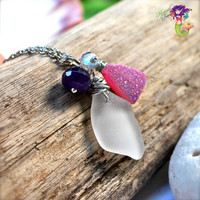 Sea Glass Jewelry made in Hawaii, Hawaiian jewelry with pink druzy & gemstones by Mermaid Tears