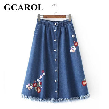 GCAROL 2017 Women Embroidery Floral Denim Skirt A-Line Burrs Billowing Skirts Fashion Vintage New Arrival Long Skirt For Ladies